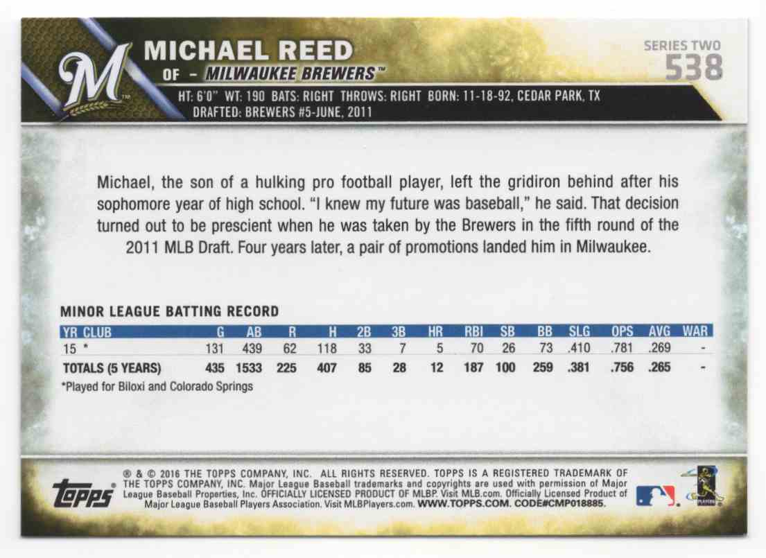 2016 Topps Michael Reed #538 card back image