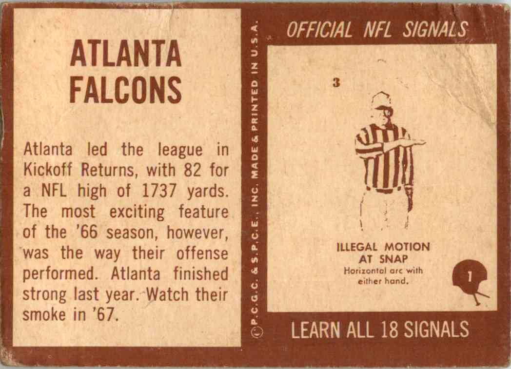 1967 Philadelphia Atlanta Falcons Football Team #1 card back image