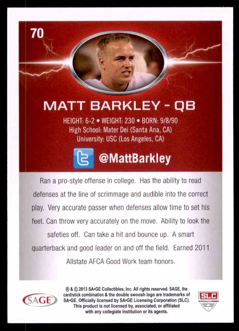 2013 Sage Hit Matt Barkley Nl #70 card back image