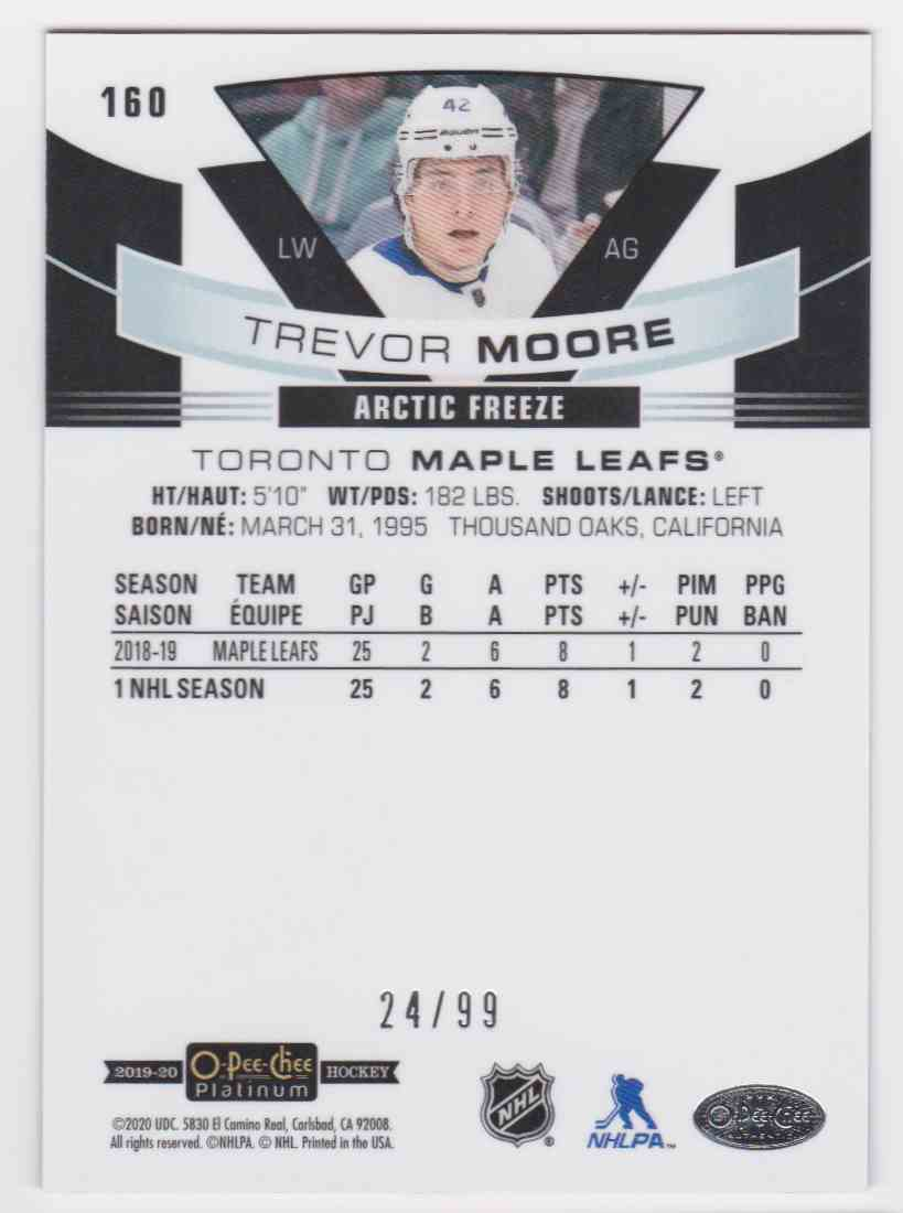 2019-20 Upper Deck Hockey O-Pee-Chee Platinum Trevor Moore - Arctic Freeze #160 card back image
