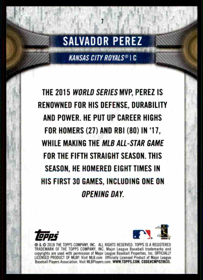 2018 Topps National Baseball Card Day Salvador Perez #7 card back image