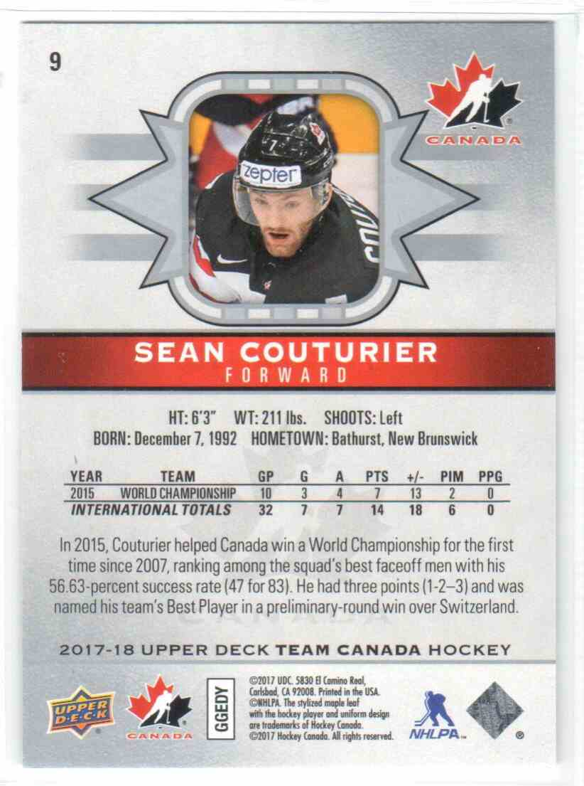 2017-18 Upper Deck Team Canada Canadian Tire Sean Couturier #9 card back image