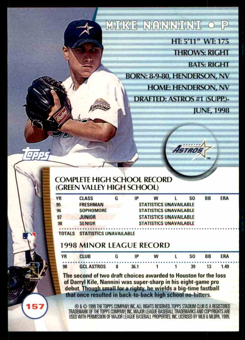 1999 Topps Stadium Club Mike Nannini 157 On Kronozio