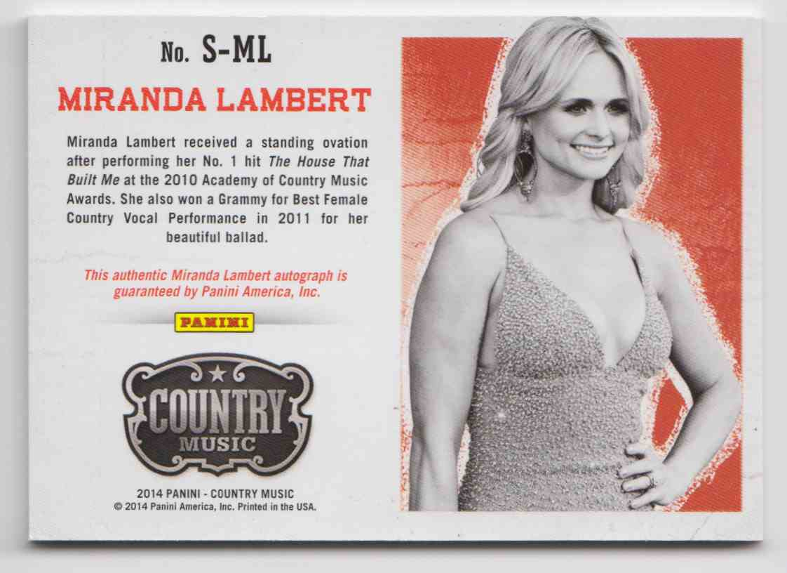 2014 Panini Country Music Silver Miranda Lambert #S-ML card back image