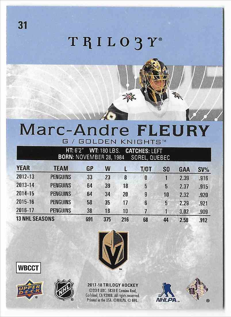 2017-18 Upper Deck Trilogy Marc-Andre Fleury #31 card back image
