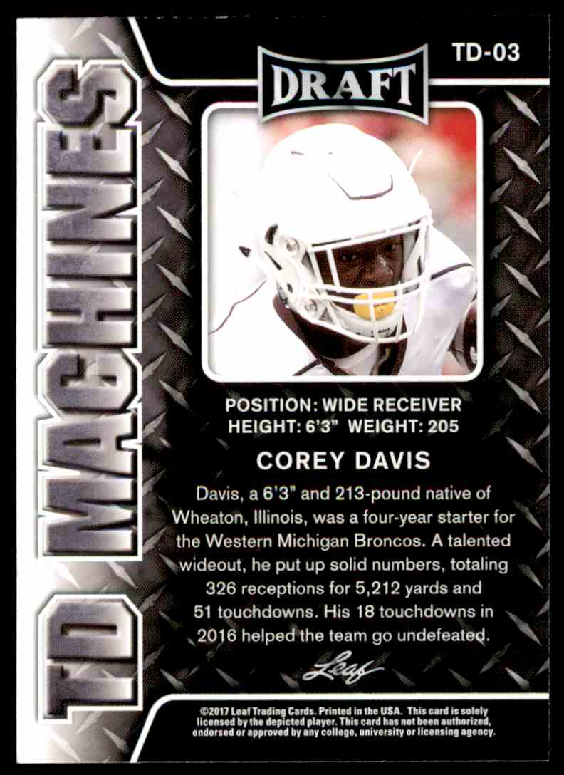 2017 Leaf Draft Corey Davis #TD-03 card back image