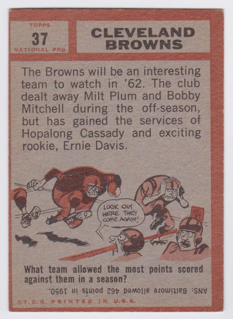 1962 Topps Browns Team #37 card back image