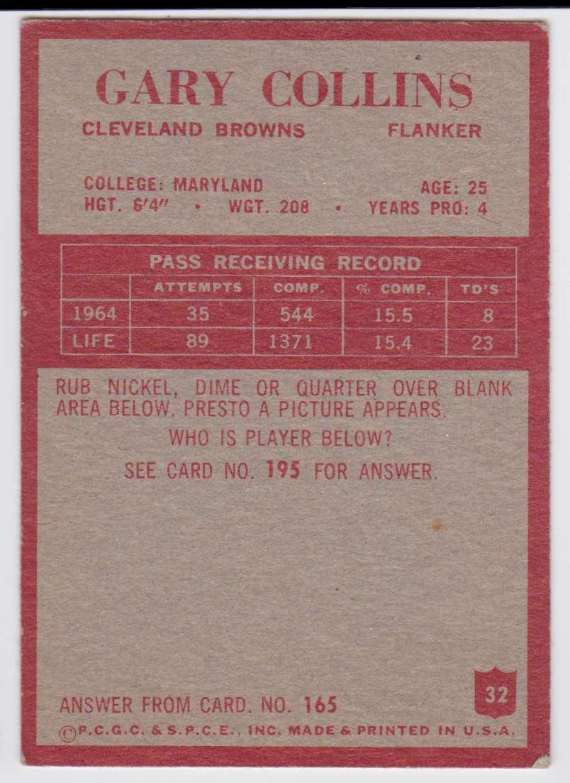 1965 Philadelphia Gary Collins #32 card back image