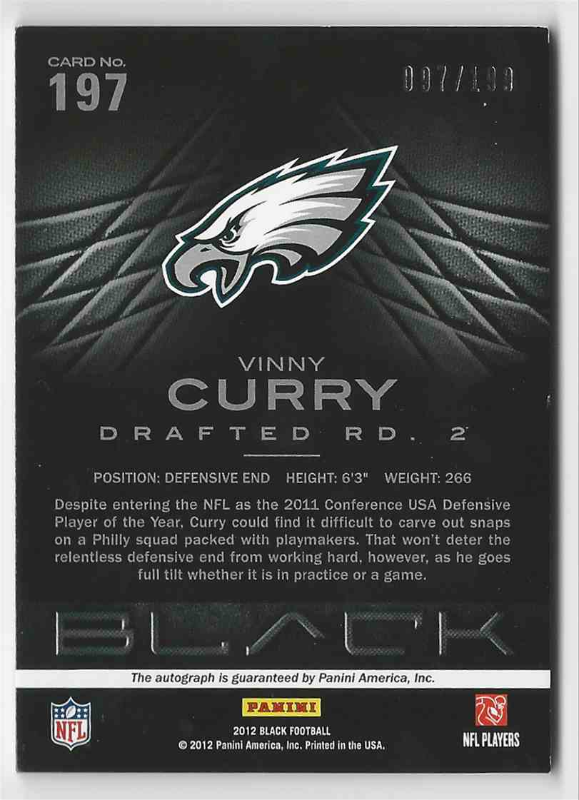 2012 Panini Black Rookie Signatures Vinny Curry #197 card back image