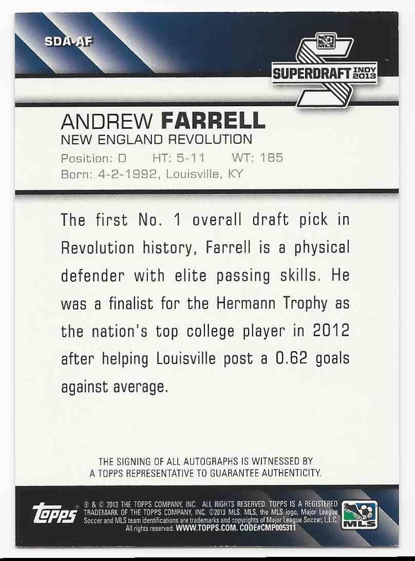 2013 Topps MLS Super Draft Autographs Andrew Farrell #SDA-AF card back image