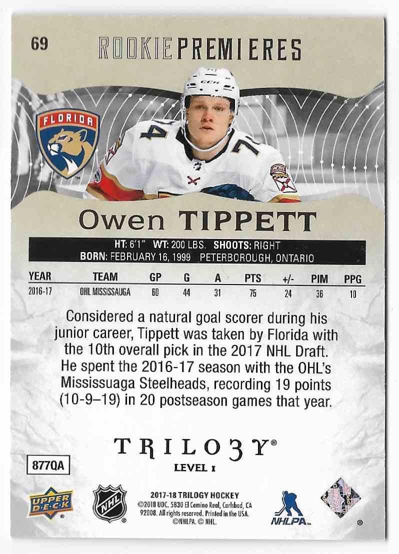 2017-18 Upper Deck Trilogy Owen Tippett #69 card back image