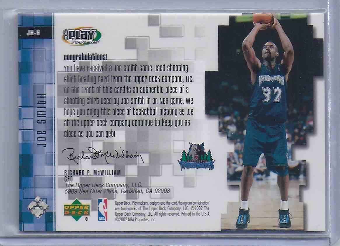 2001-02 Upper Deck Playmakers Pc Shooting Shirt Joe Smith #JSS card back image