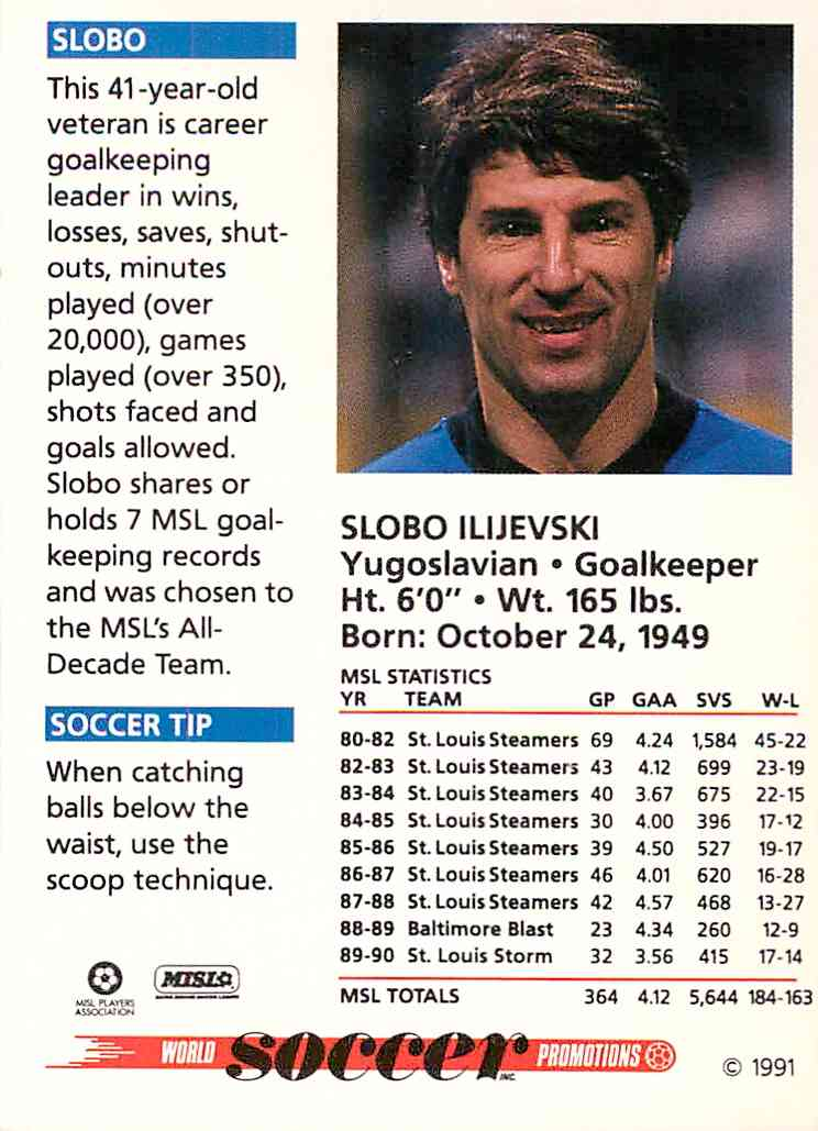 1991 Soccer Shots Slobo Ilijevski #077 card back image