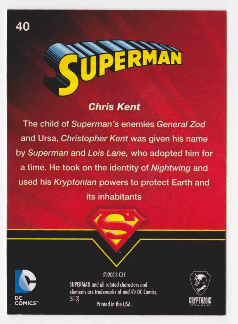 2013 Superman Cryptozoic Superman #40 card back image