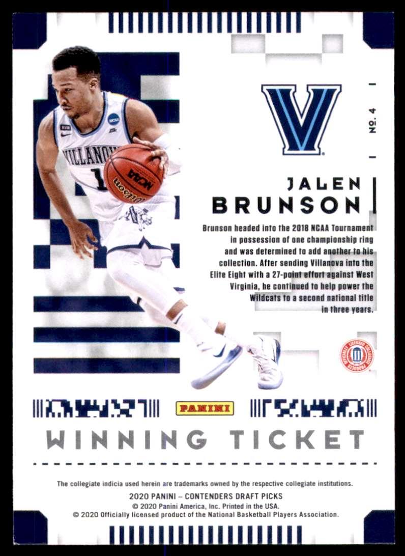 2020-21 Panini Contenders Draft Picks Winning Tickets Jalen Brunson #4 card back image