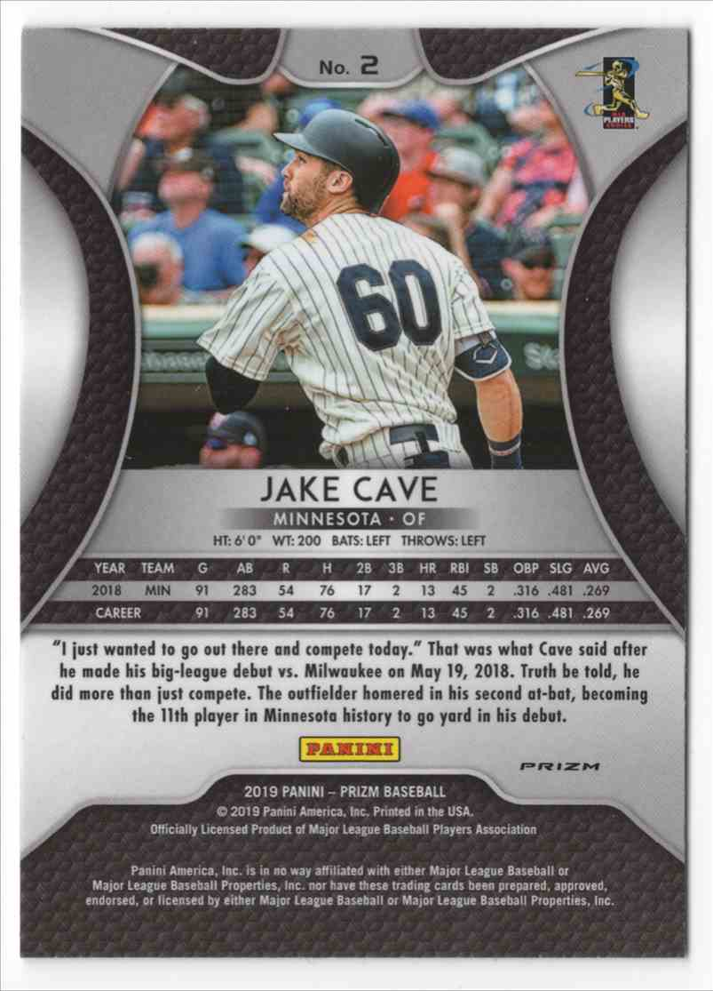 2019 Panini Prizm Prizms Red White And Blue Jake Cave #2 card back image