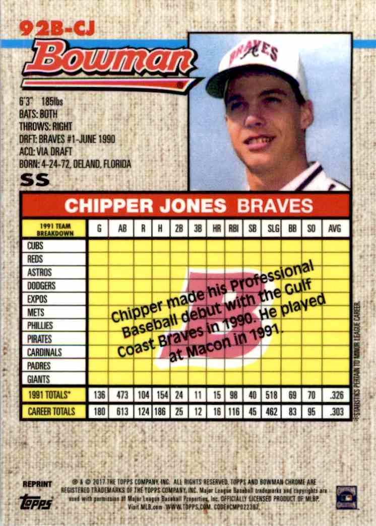2017 Bowman Chrome Chipper Jones 92b Cj On Kronozio