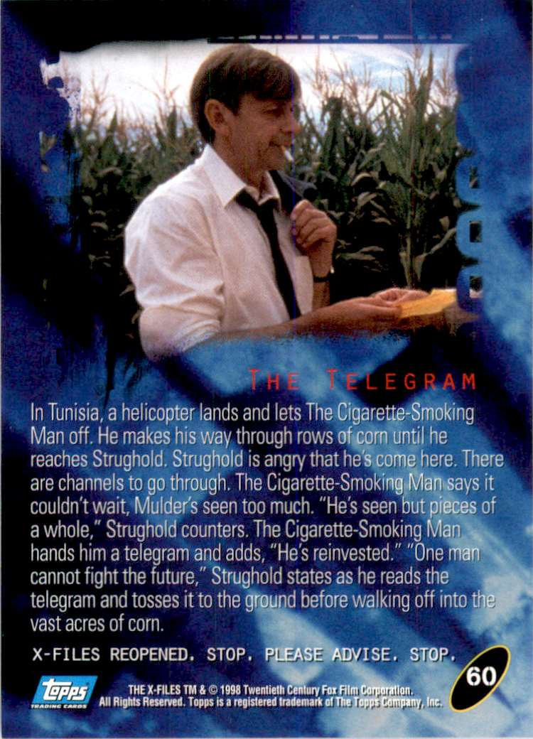 1998 X-Files Fight The Future The Telegram #60 card back image