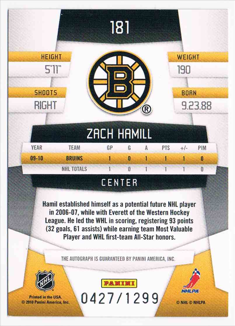 2010-11 Certified Freshman Signatures Zach Hamill #181 card back image