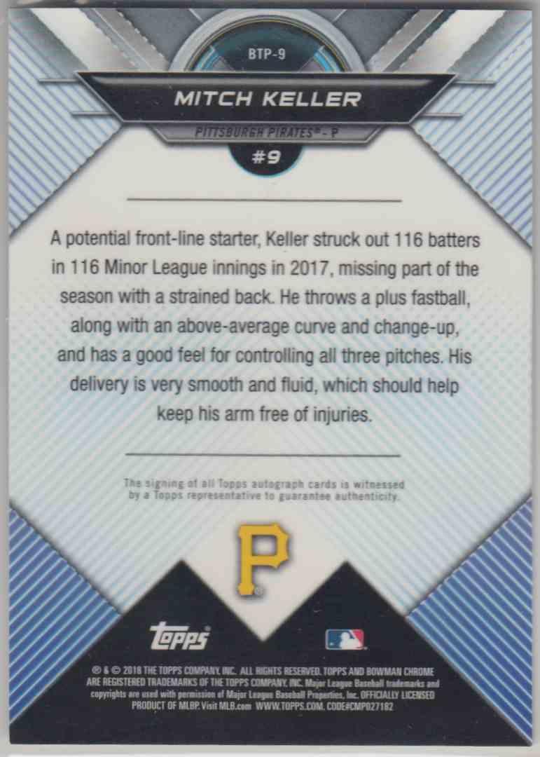 2016 Bowman Bowman Scouts' Top 100 Gold Mitch Keller #BTP-9 card back image