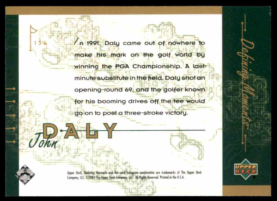 2001 Upper Deck John Daly DM #134 card back image