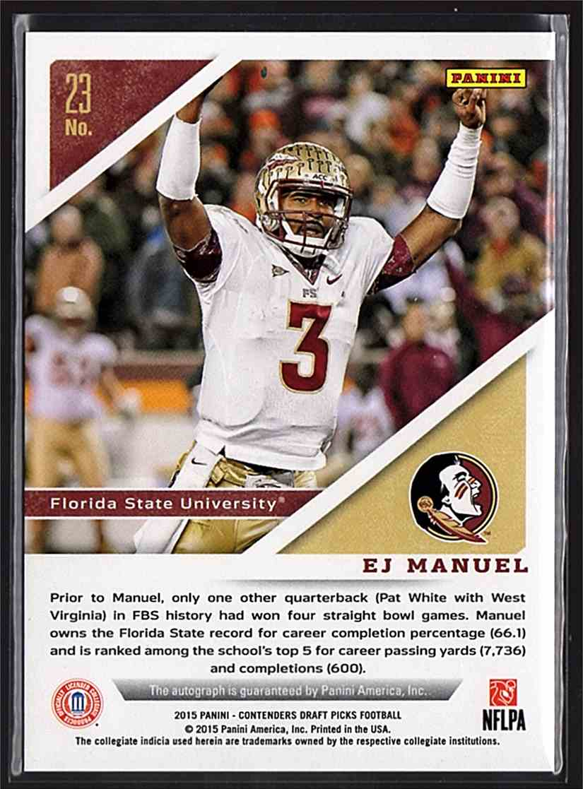 2015 Panini Contenders Draft Picks Alumni Ink Ej Manuel SP #23 card back image