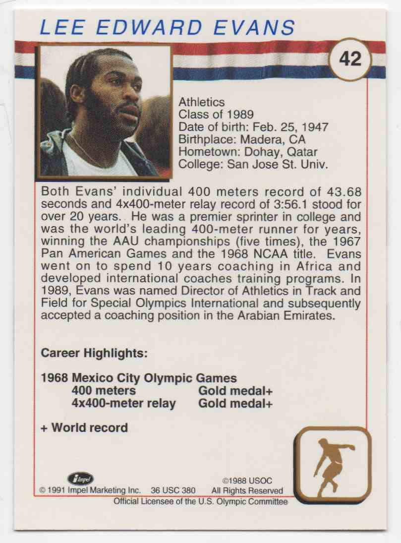1991 Impel U.S. Olympic Hall Of Fame Lee Evans #42 card back image