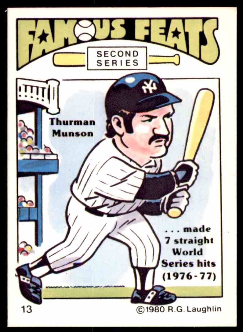 1980 Rg Laughlin Famous Feats Exmt Thurman Munson 13