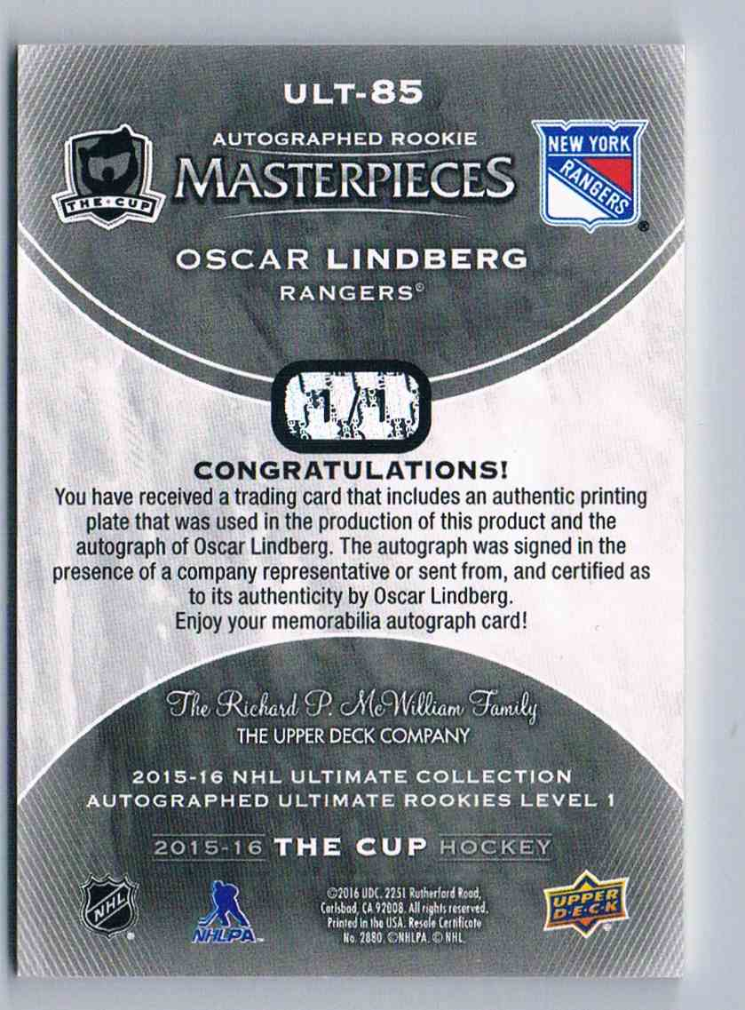 2015-16 Upper Deck The Cup Printing Plates Oscar Lindberg #ULT-85 card back image