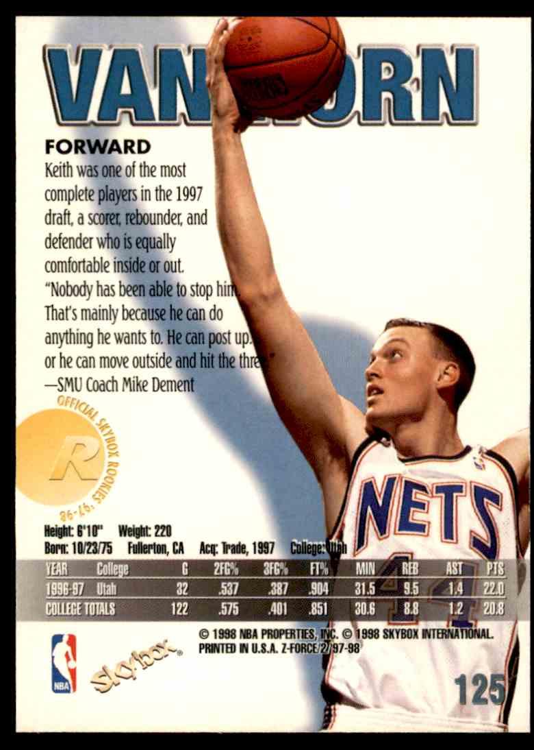1997-98 Skybox Z Force Keith Van Horn #125 card back image