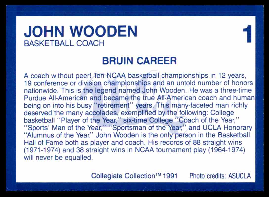 1991-92 Ucla Collegiate Collection John Wooden Co #1 card back image