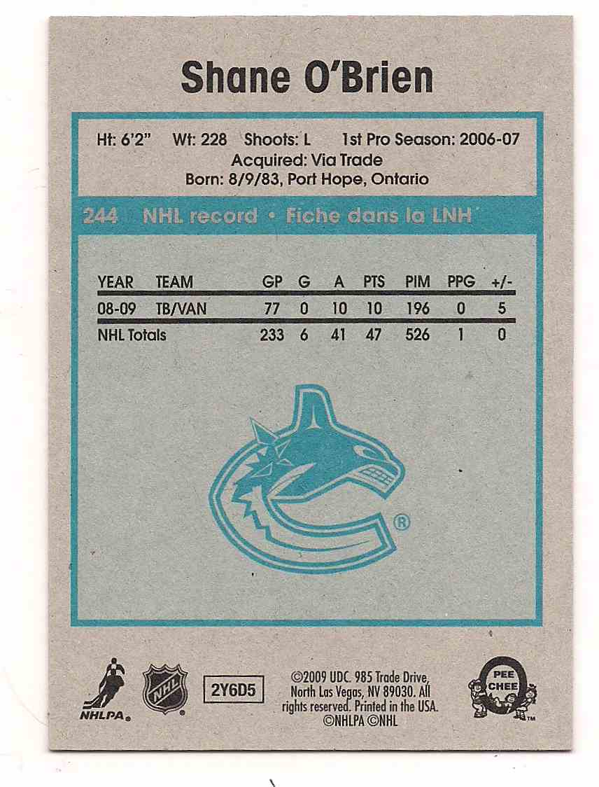 2009-10 0-Pee-Chee Retro Shane O'Brien #244 card back image