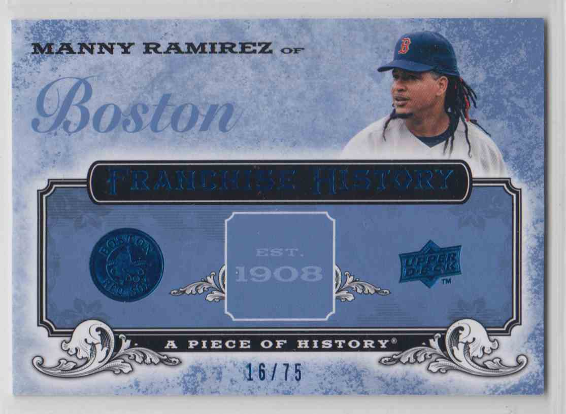 2008 Upper Deck A Piece Of History Franchise History Blue Manny Ramirez #FH-7 card front image