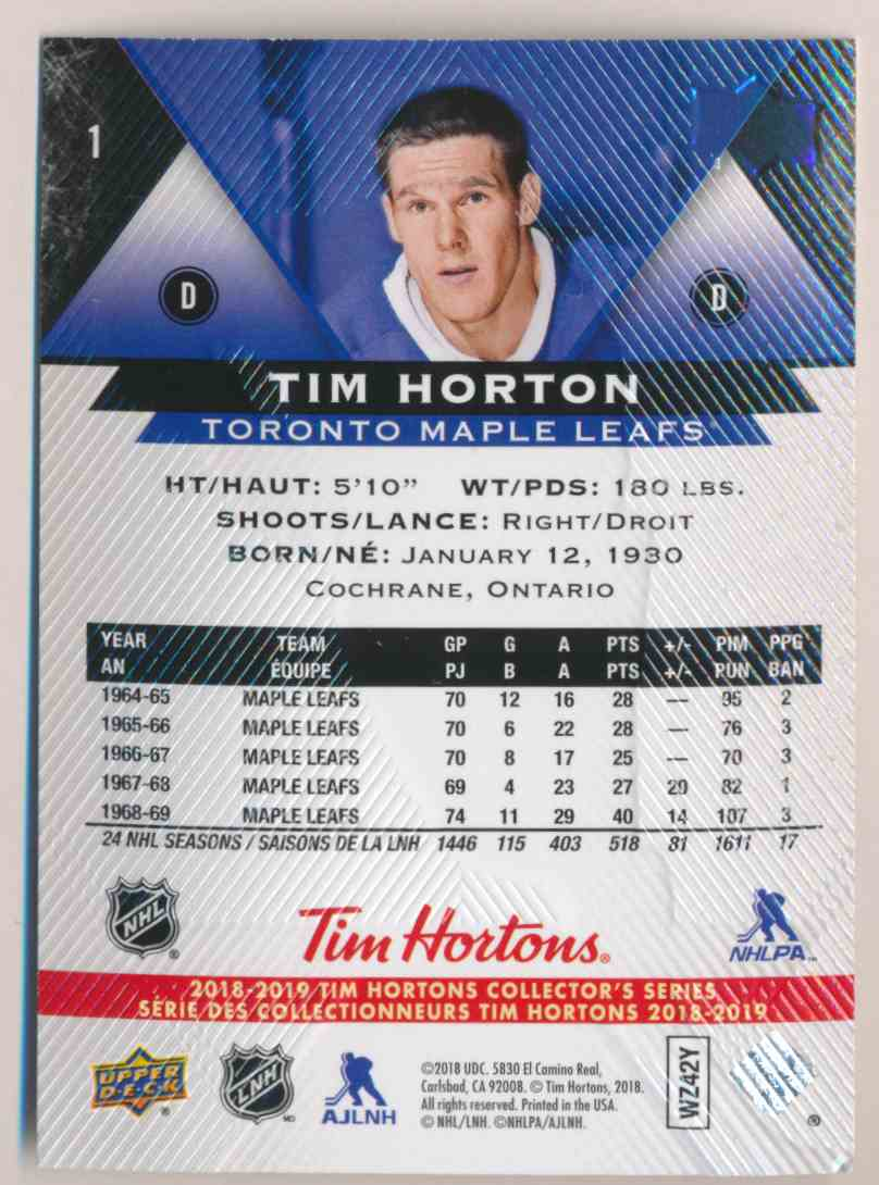 2018-19 Upper Deck Tim Hortons Tim Hortons #1 card back image