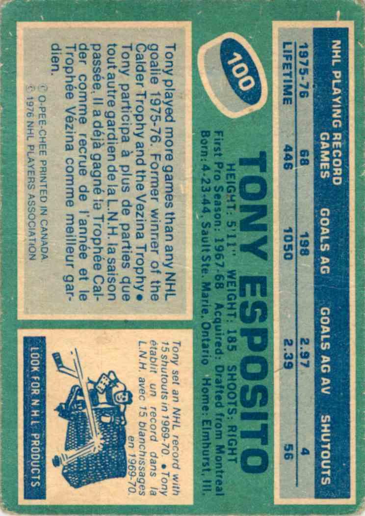 1976-77 O-Pee-Chee Tony Esposito #100 card back image