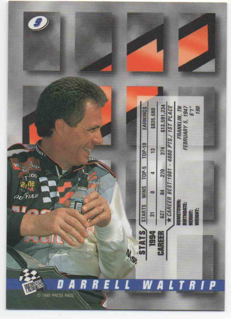 1995 Press Pass Darrell Waltrip #9 card back image