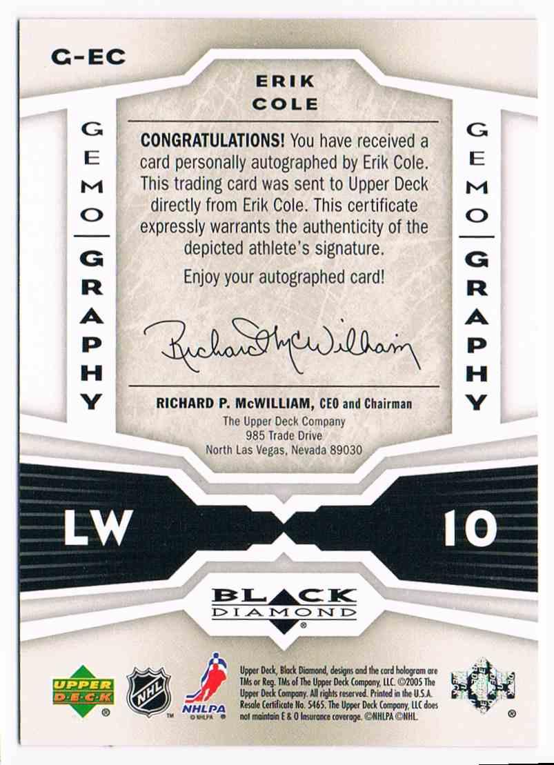 2005-06 Upper Deck Black Diamond Gemography Erik Cole #G-EC card back image