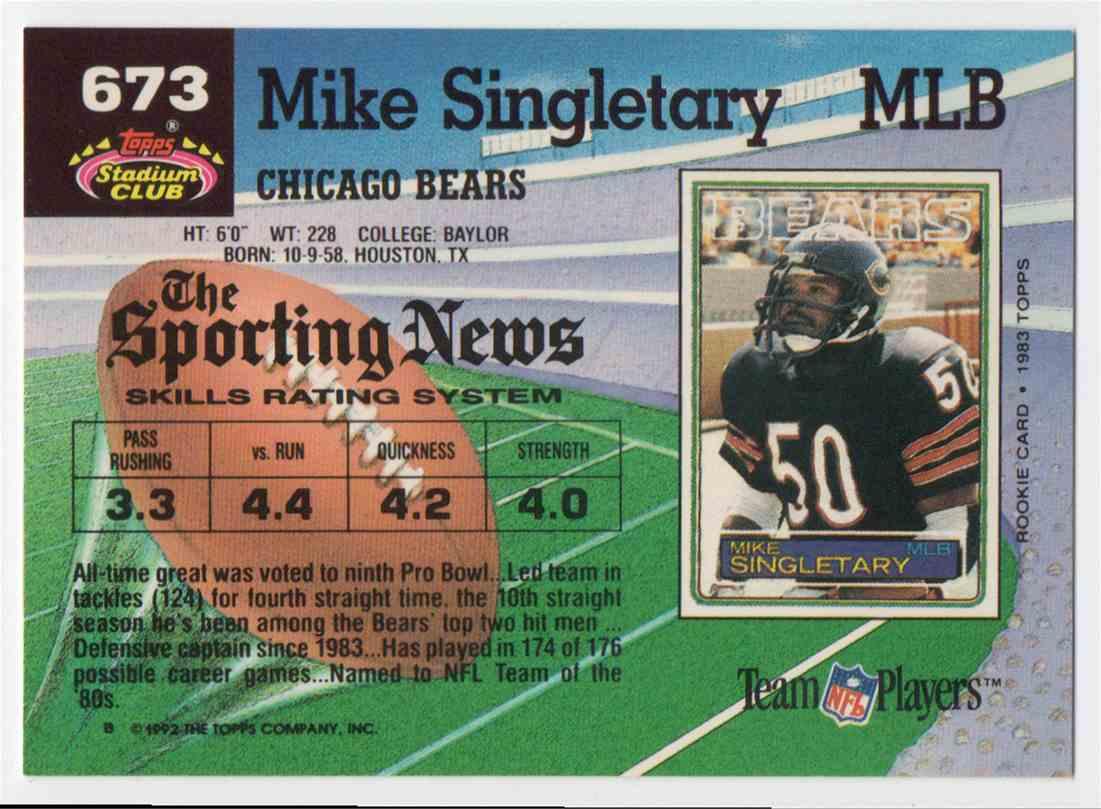 1992 Stadium Club Mike Singletary #673 card back image