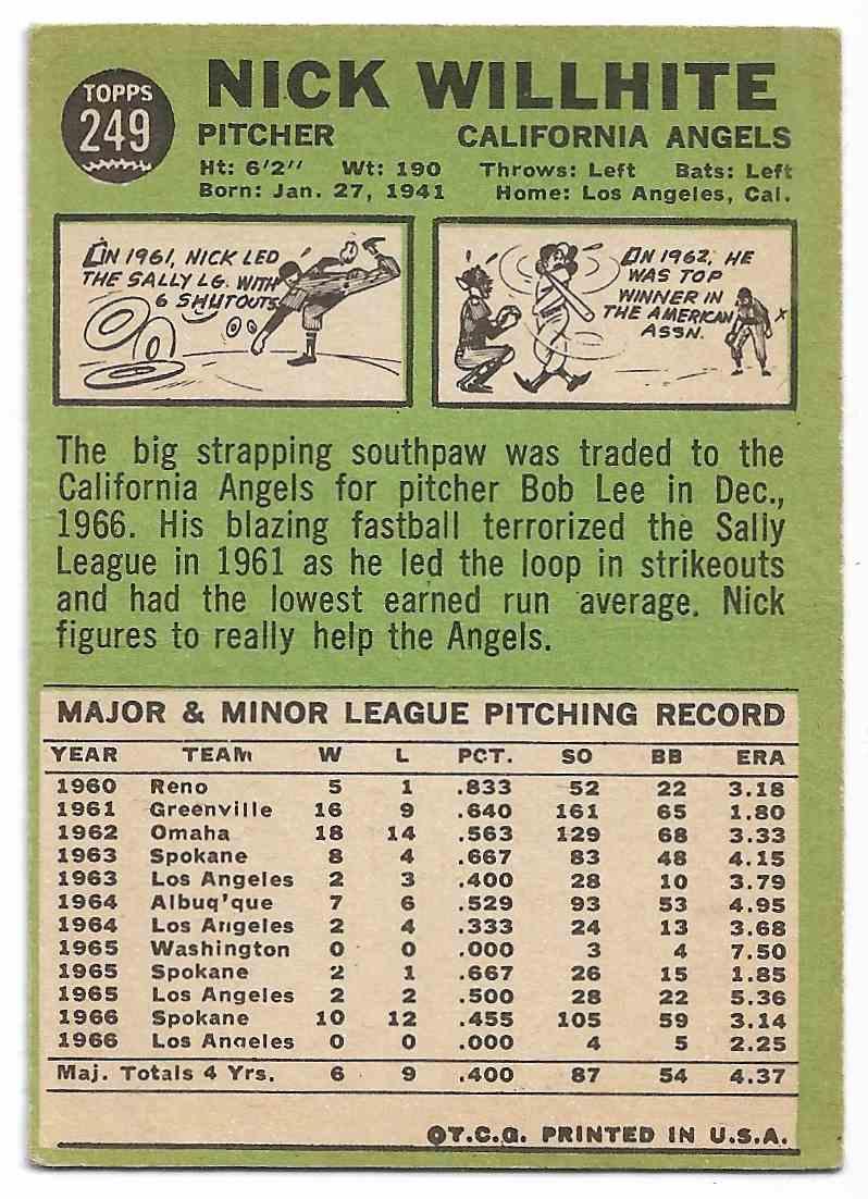 1967 Topps Nick Willhite #249 card back image