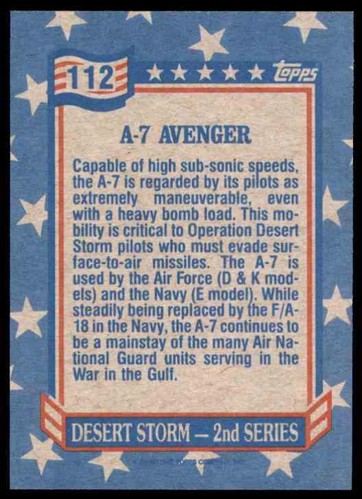 1991 Desert Storm Topps A-7 Avenger #112 card back image