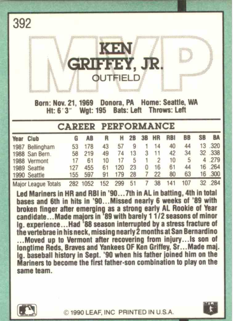 9b1e4d6d1f Real card back image 1990 Leaf Ken Griffey JR. #392 card back image