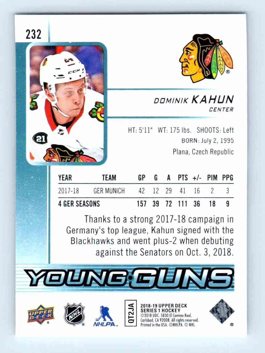 2018-19 Upper Deck Young Guns Dominik Kahun #232 card back image