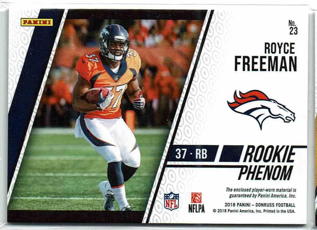 2018 Panini Donruss Rookie Phenom Blue Royce Freeman #23 card back image