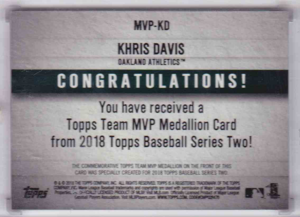 2018 Topps Series Two MVP Medallion Card Khris Davis #MVP-KD card back image