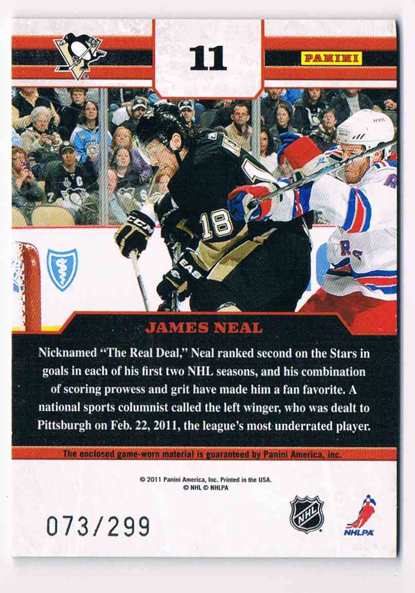 2010-11 Panini Zenith Gifted Grinders James Neal #11 card back image