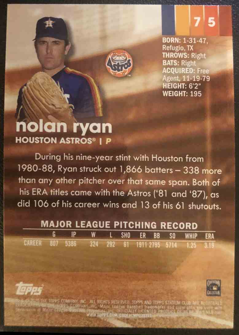 2020 Topps Stadium Club Nolan Ryan #75 card back image
