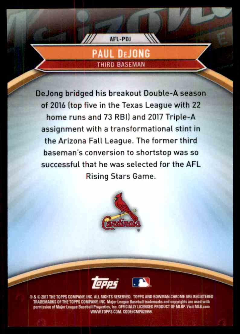 2017 Bowman Chrome Arizona Fall League Paul DeJong #AFL-PDJ card back image