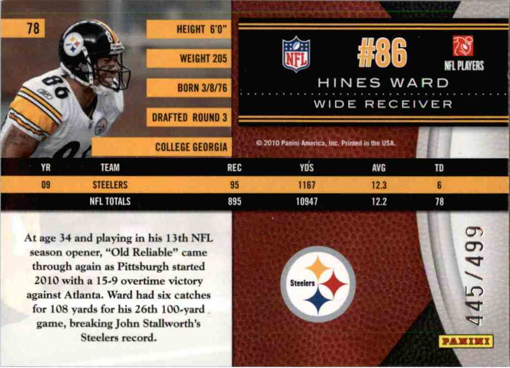 2010 Leaf Limited Hines Ward #78 card back image