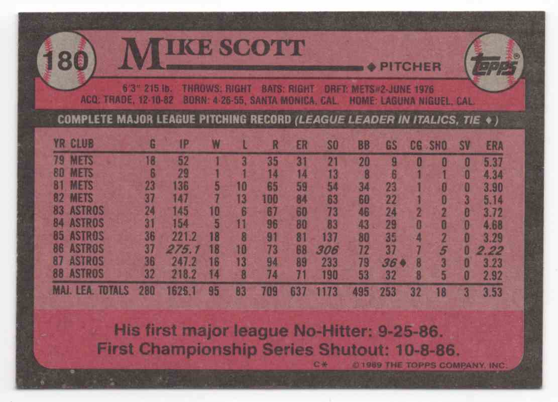 1989 Topps Mike Scott #180 card back image