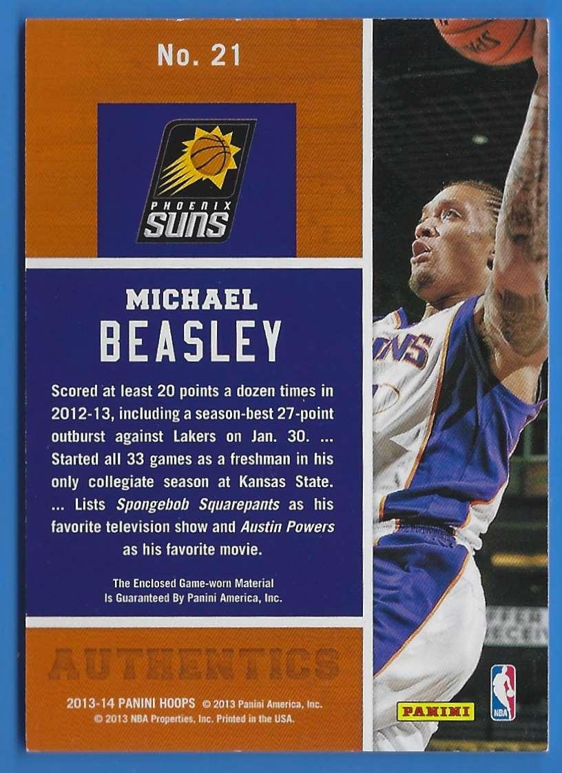 2013-14 Hoops Authentics Michael Beasley #21 card back image